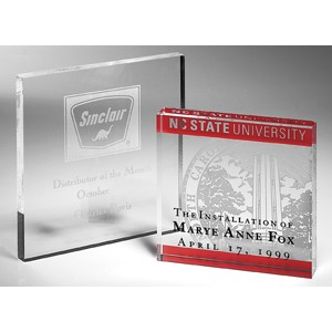 "Letterman Clear Square Paperweight - Acrylic (3 1/2""x3 1/2""x3/8"")"